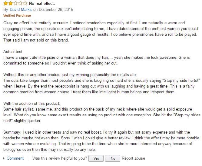 Dr amends pheromone advantage Amazon review